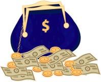 Geld-Taschenvektorikone mit Dollarzeichen Stockfotografie