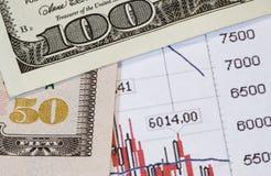 Geld tegenover voorraden Stock Afbeeldingen