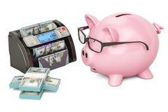 Geld tellende machine met dollars en spaarvarken, het 3D teruggeven Stock Afbeelding