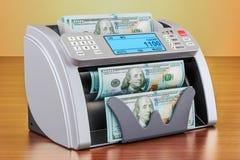 Geld tellende machine met dollars op de houten lijst 3d trek uit Stock Afbeeldingen