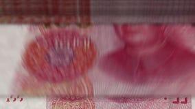 """Geld tellende machine onderaan †""""100 Yuans stock videobeelden"""