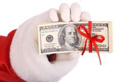 Geld ter beschikking van de Kerstman. Stock Foto