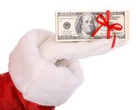 Geld ter beschikking van de Kerstman. Royalty-vrije Stock Foto