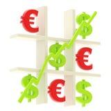Geld: tic tac-Zehe hergestellt vom Dollar und von den Eurozeichen Stockfotografie