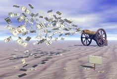 Geld tijdens de vlucht Stock Afbeelding