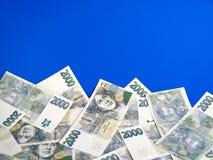 Geld - Tsjechische kronennota's Stock Afbeeldingen