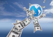 Geld um die Welt Lizenzfreie Stockfotografie