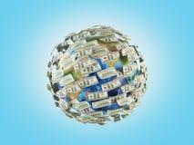 Geld um Planeten Stockbild