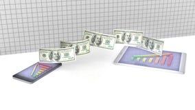 Geld und Balkendiagramm intelligenten Telefon am Bildschirm- Wiedergabe 3d vektor abbildung
