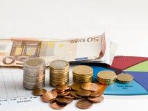 Geld und Diagramm Stockfoto