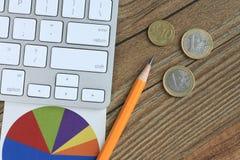 Geld und Diagramm, Geschäftskonzept Lizenzfreie Stockfotos