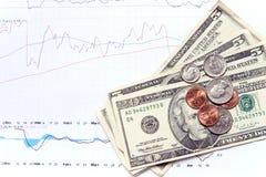 Geld und Diagramme Stockfoto
