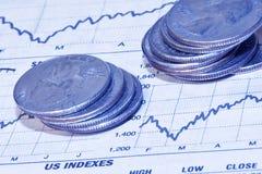 Geld und Finanzdiagramme Stockbilder