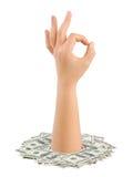 Geld- und Hando.k. Stockfoto