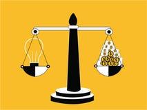 Geld und Idee auf Balance lizenzfreie abbildung
