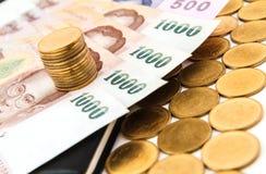 Geld und Münzen Stockfotografie