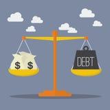 Geld- und Schuldbalance auf der Skala stock abbildung
