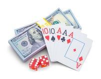 Geld und Spielkarten Stockfoto