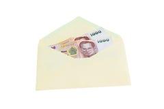 Geld und Umschlag Stockfotos