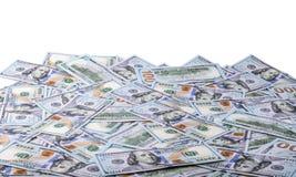 Geld US-Dollar, Vergrößerungsglas und Verriegelung getrennt auf weißem Hintergrund S 100 Dollarschein Lizenzfreie Stockfotos