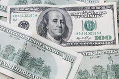 Geld- US-Währung hundert Dollarscheine Stockbild