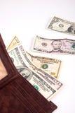 Geld in uw portefeuille Stock Foto's