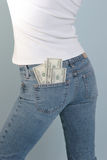 Geld in uw zak royalty-vrije stock afbeelding