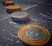 Geld van Brazilië, munten van Brazilië, centen stock foto's