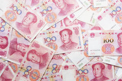 Geld 100 van China bankbiljetachtergrond Royalty-vrije Stock Fotografie