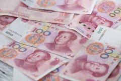 Geld 100 van China bankbiljetachtergrond Royalty-vrije Stock Afbeelding