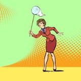 Geld van de bedrijfsvrouwen het lopende vangst, Vrouw die documenten vangen royalty-vrije illustratie