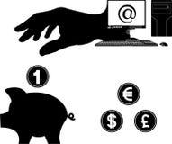 Geld van Internet Stock Foto