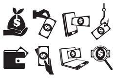 Geld-Vektor-Ikonen-Satz Lizenzfreies Stockfoto