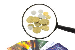 Geld, Vergrößerungsglas, Karte Stockbild