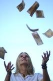 Geld vom Himmel Stockfotos