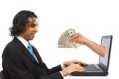 Geld vom Internet stockbilder