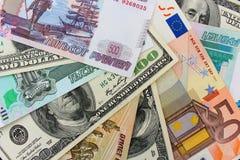 Geld von den verschiedenen Landdollar, Euros, hryvnia, Rubel Stockbild