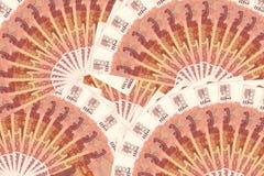 Geld von Russland 5000 Rubel Hintergrund Stockfotos