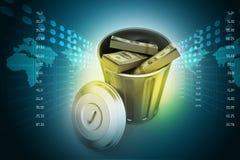 Geld in vuilnisbak royalty-vrije illustratie