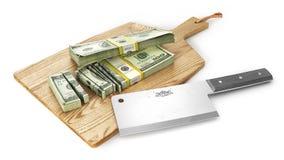 Geld wird gehackt Großer Messerausschnitt-Geldstapel auf einem hölzernen Brett 3d Lizenzfreie Stockfotos