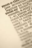 Geld in woordenboek. royalty-vrije stock foto