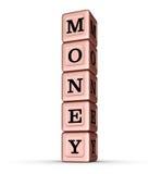 Geld-Wort-Zeichen Vertikaler Stapel von Rose Gold Metallic Toy Blocks Stockfoto