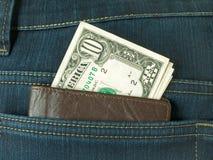 Geld in zak royalty-vrije stock afbeeldingen