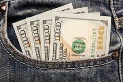 Geld in zak Stock Afbeeldingen