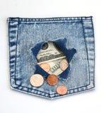 Geld in zak royalty-vrije stock foto