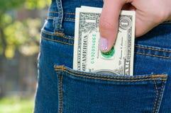 Geld in zak Royalty-vrije Stock Fotografie