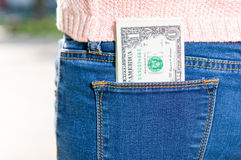 Geld in zak Stock Foto