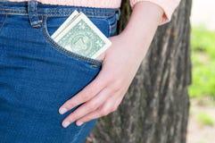 Geld in zak Stock Afbeelding