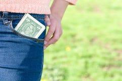 Geld in zak Stock Fotografie