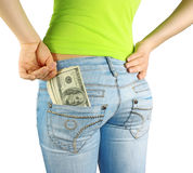 Geld in zak & hand royalty-vrije stock foto